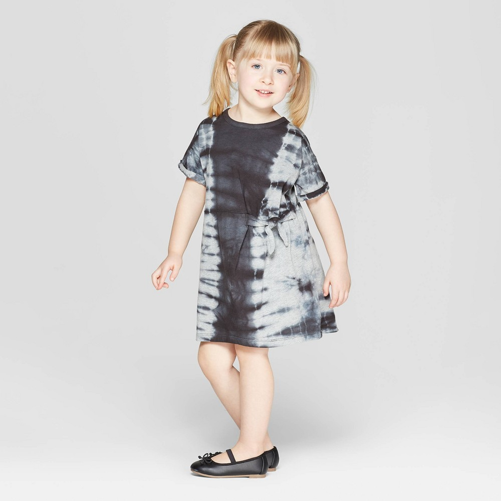 Toddler Girls' Tie Dye Tunic Dress - art class Gray/Black 12M