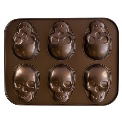 13.9  x 10.6  Skull Cake Pan Bronze - Nordic Ware