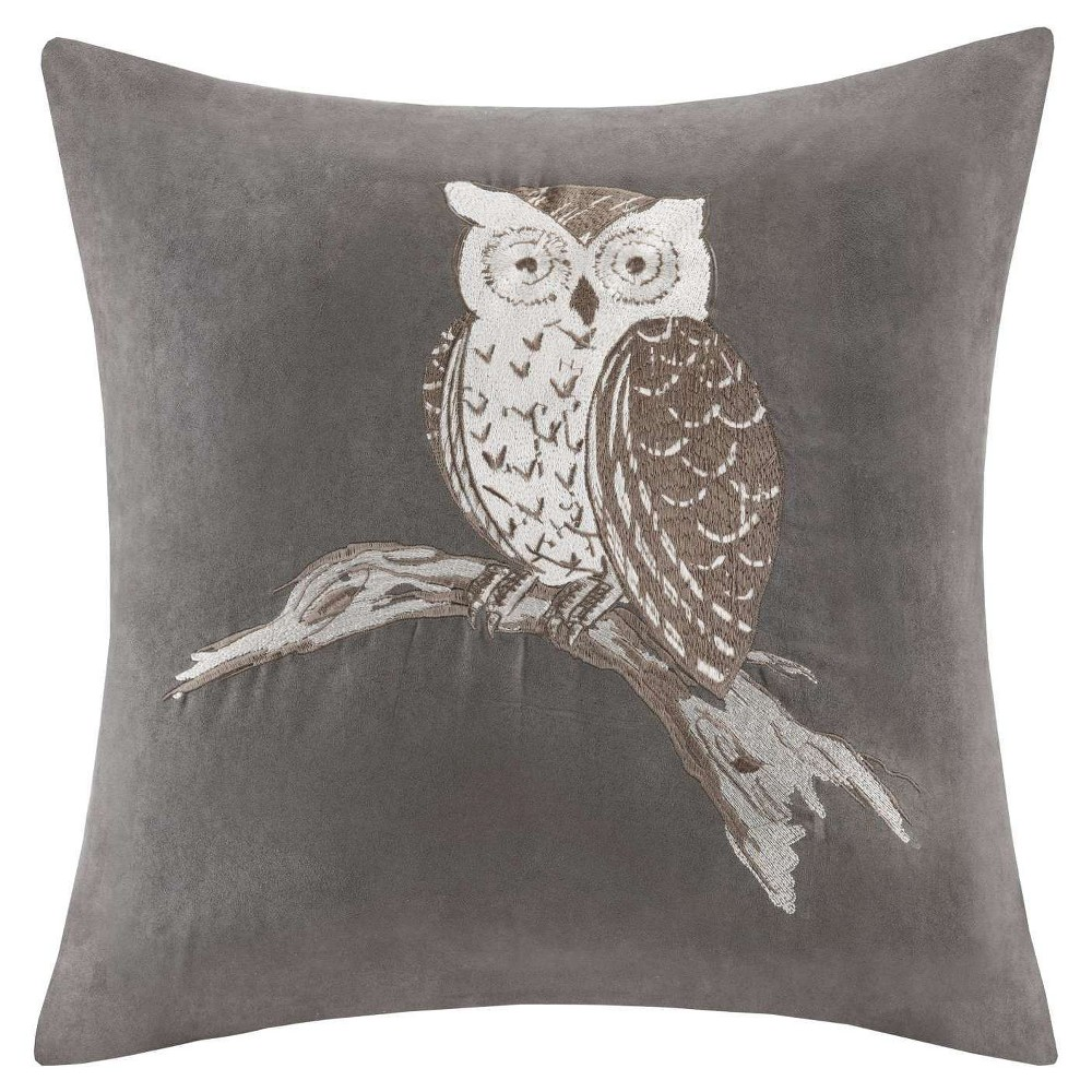 Gray Owl Embroidered Suede Throw Pillow (20x20)