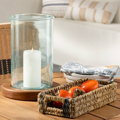 """13.1"""" x 9.8"""" Tall Seeded Glass and Wood Pillar Candleholder Brown - Threshold™ designed with Studio McGee"""