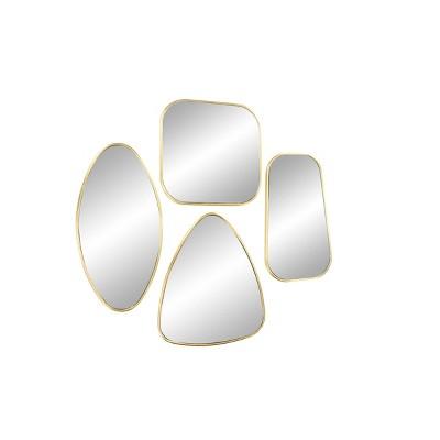 Set of 4 Large Geometric Metallic Wall Mirrors Gold - CosmoLiving by Cosmopolitan