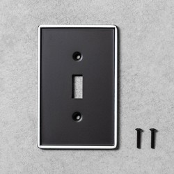 2pk Metal Painted Enamel Light Switch Plate Black - Hearth & Hand™ with Magnolia