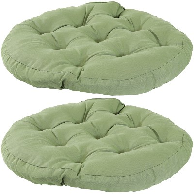 2pk Green Olefin Tufted Large Round Floor Cushion - Sunnydaze Decor