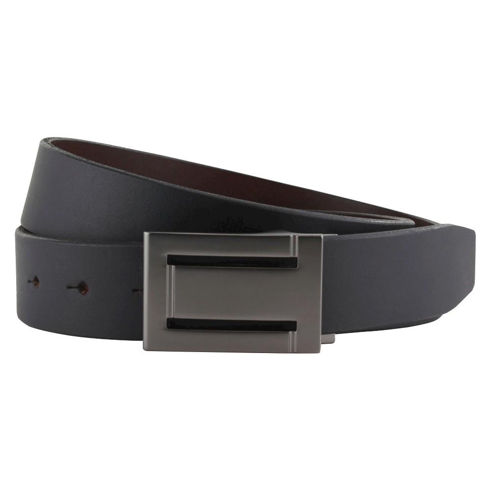 The British Belt Co. Men's Faraday Gunmetal Reversible Belt Black/Brown 40