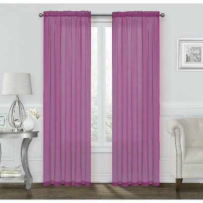 Kate Aurora Basic 2 Pack Sheer Voile Home Window Curtains