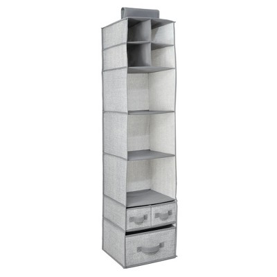 mDesign Over Closet Rod Storage Organizer 7 Shelves/3 Drawers