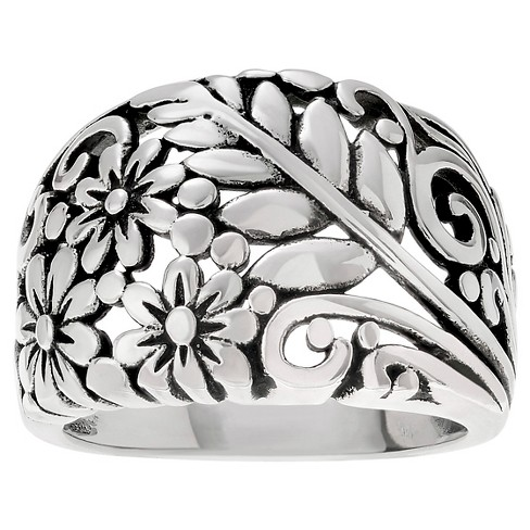 Women's Journee Collection Floral Dome Ring in Sterling Silver - Silver - image 1 of 2