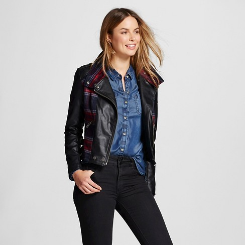 Women S Quilted Faux Leather Jacket Black Collection B Target