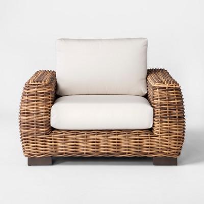 Eldridge Wicker Patio Club Chair with Sunbrella Cushions - Smith & Hawken™