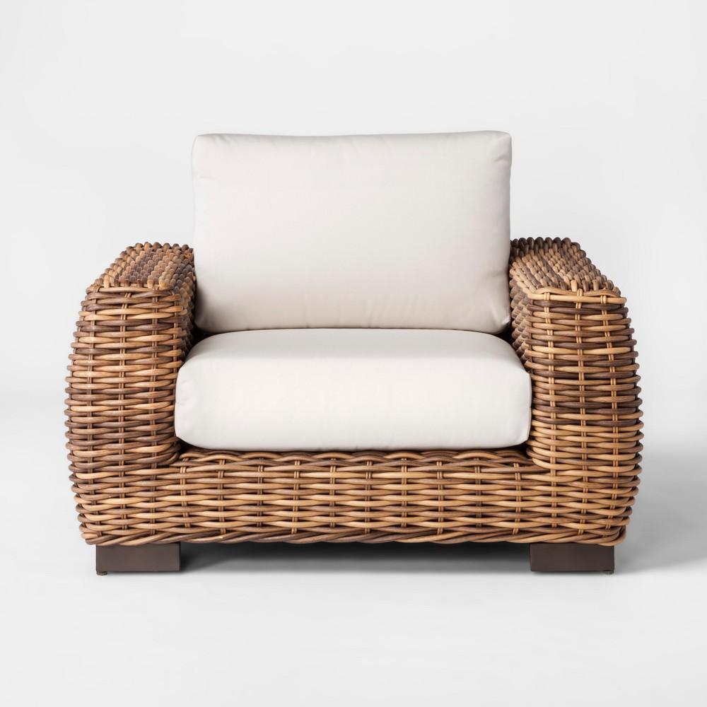 Eldridge Wicker Patio Club Chair with Sunbrella Cushions - Smith & Hawken