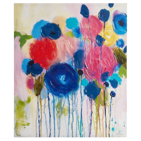 Hearts and Flowers Hand Embellished Canvas - image 1 of 4