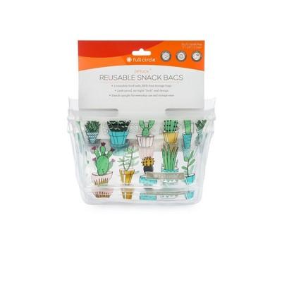 Full Circle 1.5cup 2pk Reusable Snack Bags Cactus