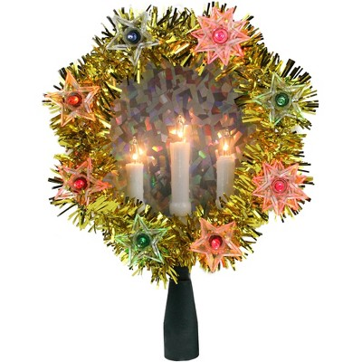 """Northlight 7"""" Lighted Gold Tinsel Wreath with Candles Christmas Tree Topper - Multi Lights"""