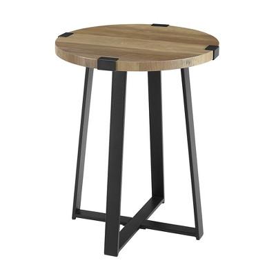 Urban Industrial Glam Faux Wrap Leg Round Side Table Rustic Oak - Saracina Home