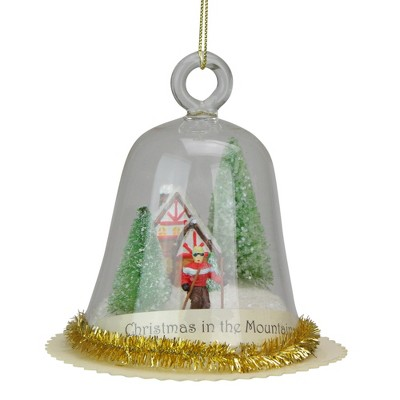 """Ganz 4"""" Globe """"Christmas In The Mountains"""" Glass Christmas Ornament - Clear/Green"""