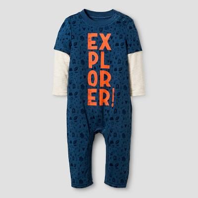 Baby Boys' Long Sleeve 2fer Explorer Romper - Cat & Jack™ Blue 3-6M
