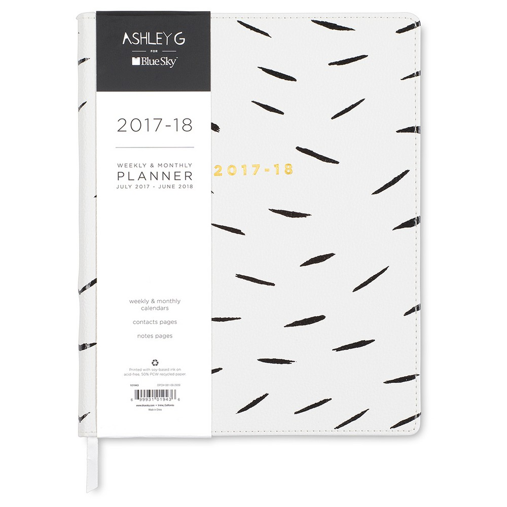 2017-2018 Ashley G Academic Planner Weekly Monthly - White with Black