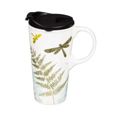 Evergreen Double Wall Ceramic Cup with Infuser & Lid 12oz. with metallic accents and box Holiday Cat