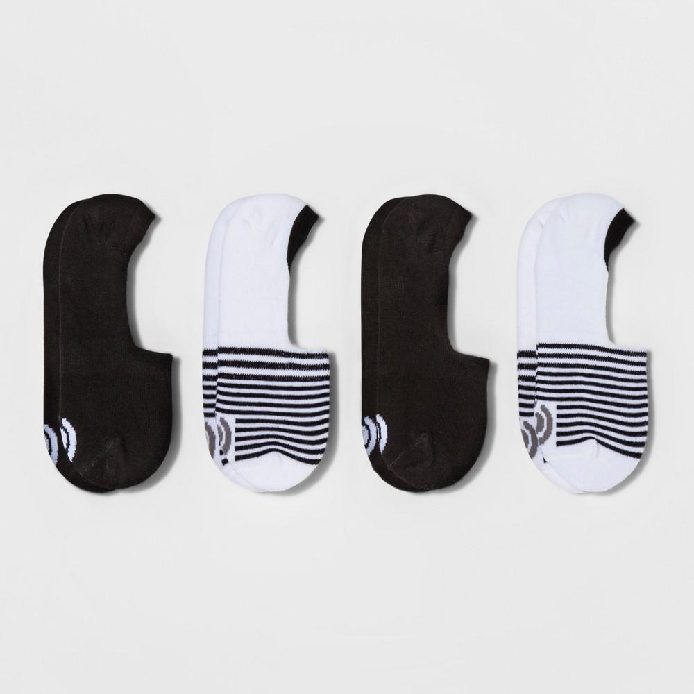 Women's Invisible Liner Socks 4pk - C9 Champion White 5-9, White/Black