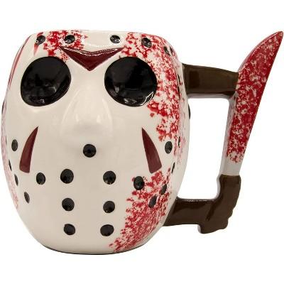 Silver Buffalo Friday the 13th Jason Mask w/ Knife 20oz Ceramic 3D Sculpted Mug