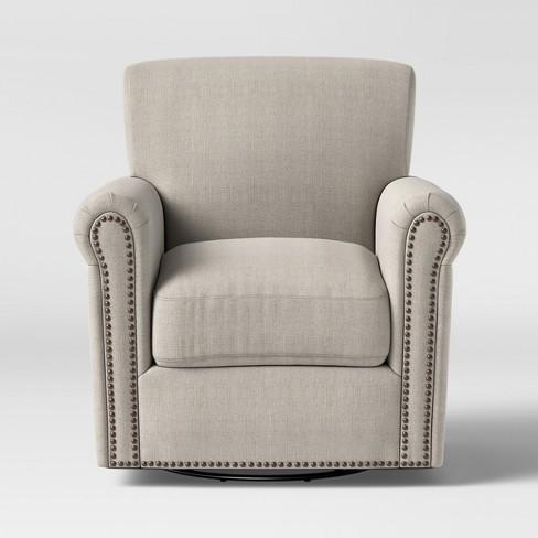 Meadowood Swivel Arm Chair Cream - Threshold™ - image 1 of 4