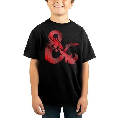 Dungeons & Dragons Metallic Print Youth Boys Black Shirt