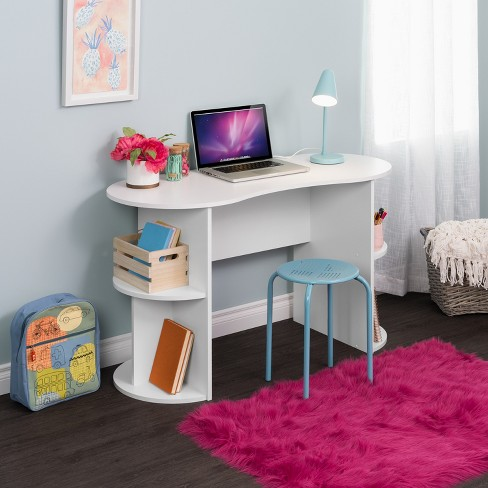 Kurv Compact Student Desk with Storage White - Prepac
