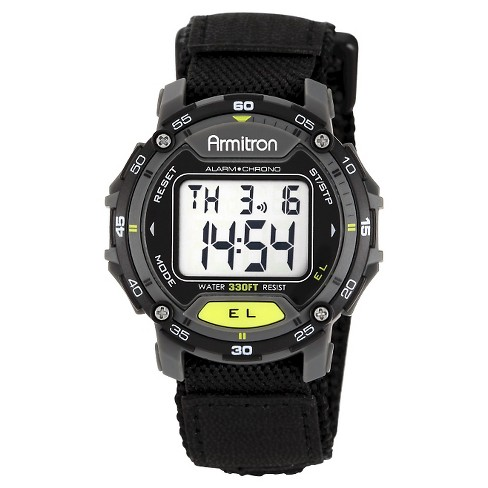 Men's Armitron Sport Accented Digital Chronograph Hoop and Loop Closure Strap Watch - Black - image 1 of 1