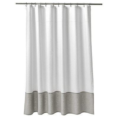 Oxford Stitch Shower Curtain White/Gray - Fieldcrest®