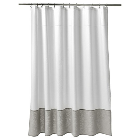 Oxford Stitch Shower Curtain White Gray