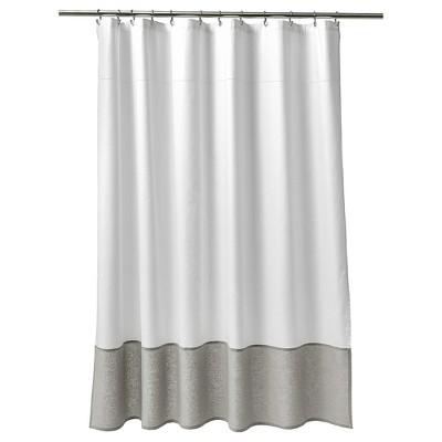 Bon Oxford Stitch Shower Curtain White/Gray   Fieldcrest®