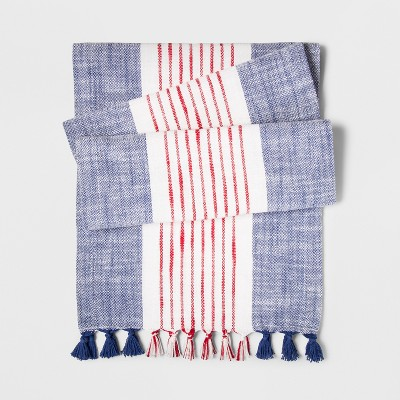 72 x14  Stripes Table Runner Blue/Red - Threshold™