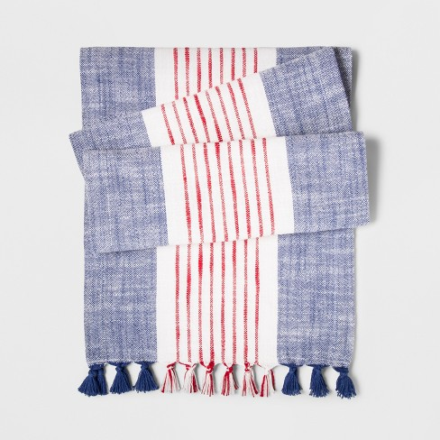 """72""""x14"""" Stripes Table Runner Blue/Red - Threshold™ - image 1 of 1"""