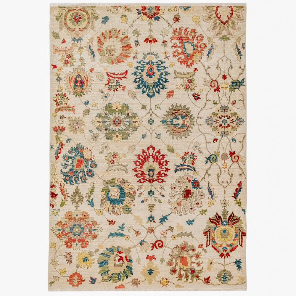Image of 7'10X10' Floral Woven Area Rug Beige - Liora Manne