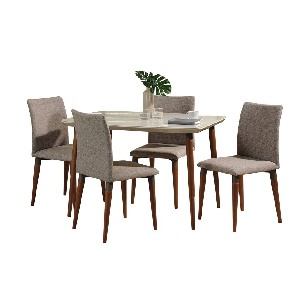 45.27 5pc Charles Dining Set Off-White/Gray (Beige/Gray) - Manhattan Comfort