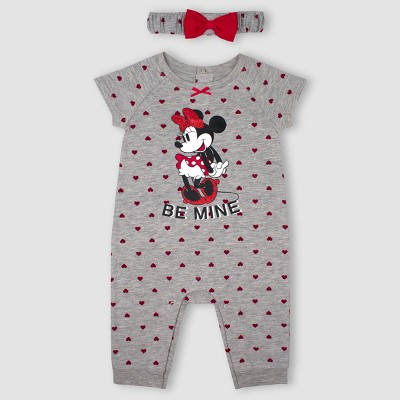 Baby Girls' Minnie Mouse 2pc Romper with Headband Set - Gray 0-3M