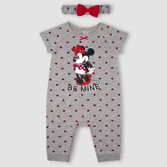Baby Girls Minnie Mouse 2pc Romper with Headband Set - Gray 6-9M