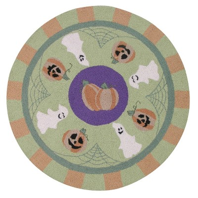 3'x3' Round Ghost Accent Rug Green - C&F Home