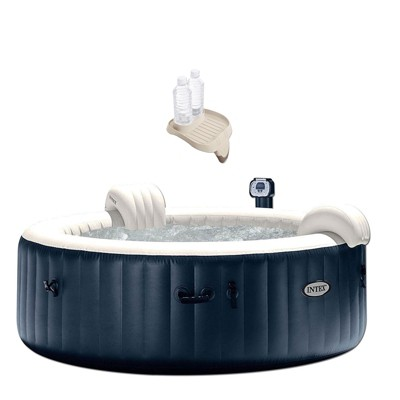 """Intex 28409E PureSpa 6 Person Home Outdoor Inflatable Portable Heated Round Bubble Jet Hot Tub Spa 85"""" x 28"""" and Drink Cup Holder Tray"""