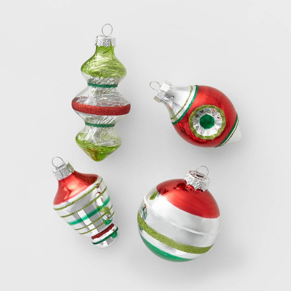 Image of 14ct Retro Glass Christmas Ornament Set Red Green and Silver - Wondershop , Silver Green