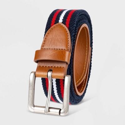 Men's Americana Striped Web Belt - Goodfellow & Co™ Red/Navy/White
