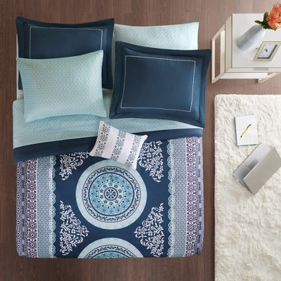 9pc Queen Blaire Comforter and Sheet Set Navy