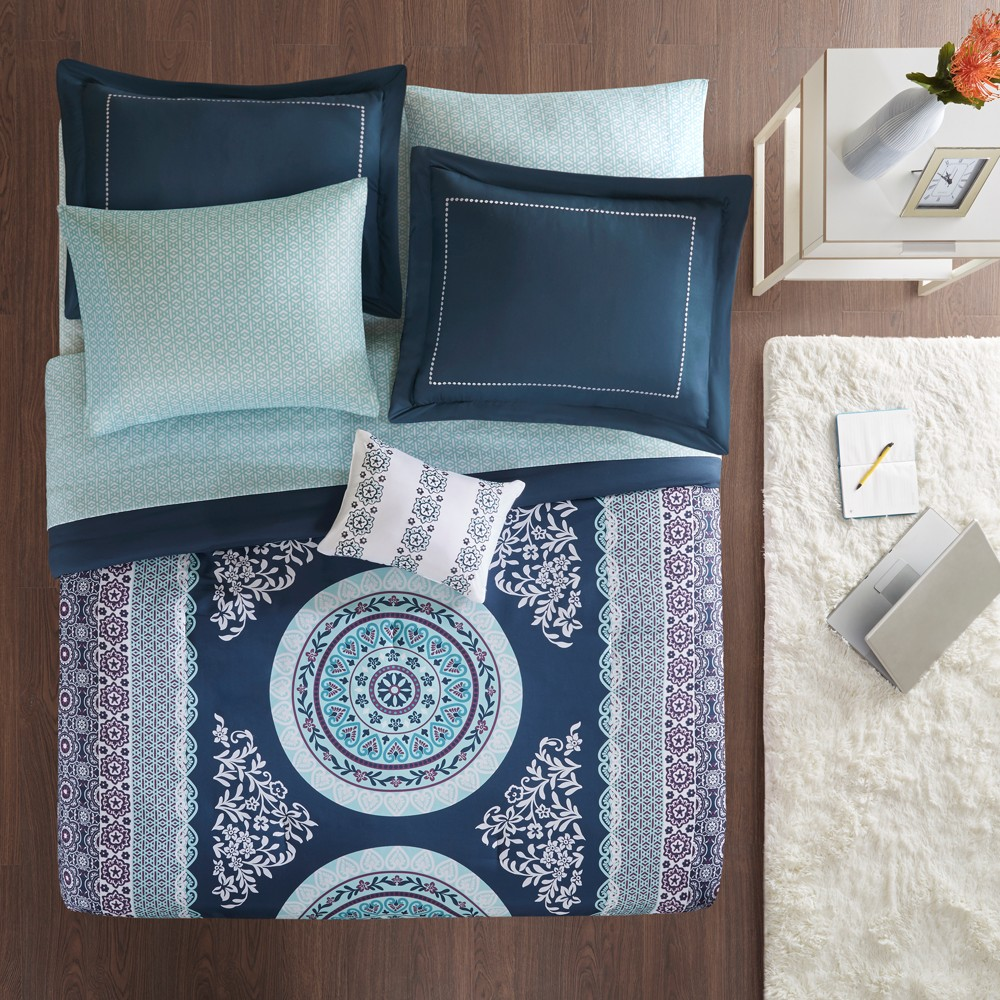 Image of 9pc Full Blaire Comforter and Sheet Set Navy