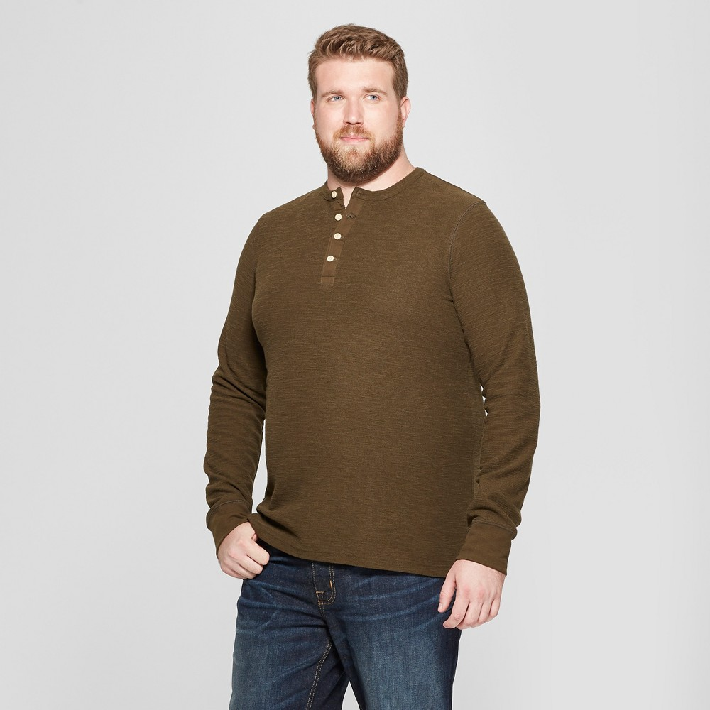 Men's Big & Tall Long Sleeve Textured Henley Shirt - Goodfellow & Co Emerald Forest 4XB