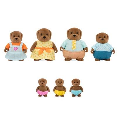 Li'l Woodzeez Miniature Animal Figurine Set - Wagadoodle Dog Family