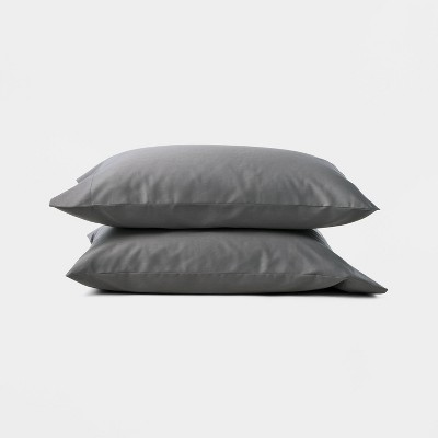 Standard 300 Thread Count Temperature Regulating Solid Pillowcase Set Dark Gray - Casaluna™