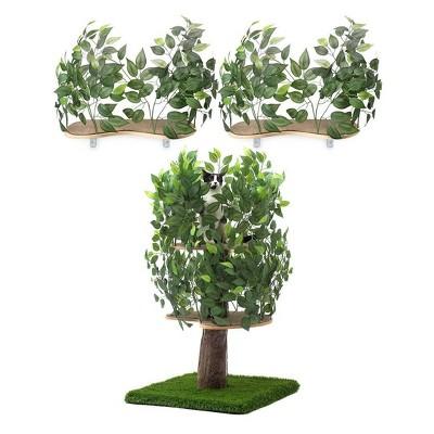 On2Pets Cat Tree & Canopy Shelves Bundle - M - White - 2ct