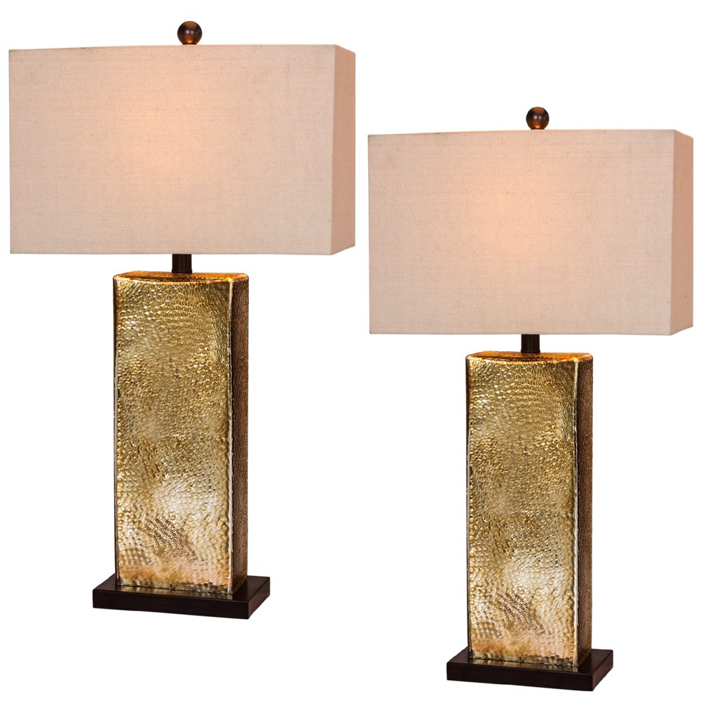 Image of 2pk Hammertone Mercury Glass & Antique Brass Metal Pillar Table Lamps Brown - Fangio Lighting