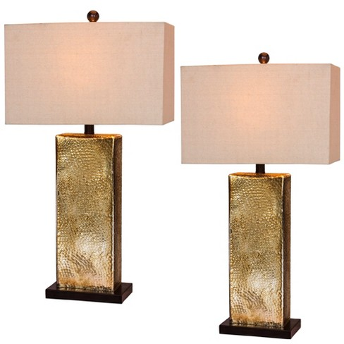 2pk Hammertone Mercury Glass & Antique Brass Metal Pillar Table Lamps Brown  - Fangio Lighting - image 1 of 2