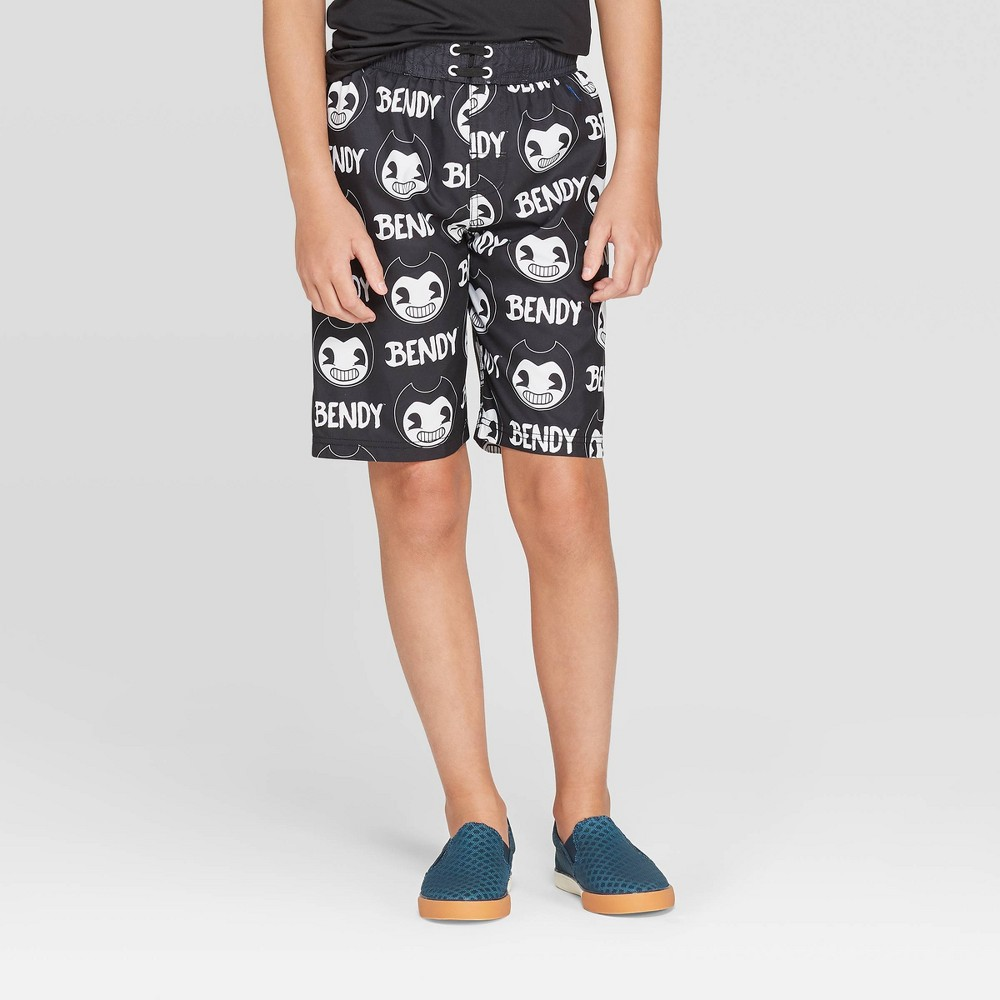 Image of Boys' Bendy And The Ink Machine Smiling Swim Trunks - Black L, Boy's, Size: Large